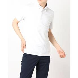 メンズ ゴルフ 半袖シャツ ウェーブジャカード S/S ポロ TB153 (ホワイト)