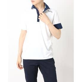 メンズ ゴルフ 半袖シャツ ダブルテーラード クーリングサマー S/S ポロ TB152 (ホワイト)