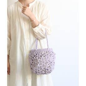 花柄編みミニトートバッグ (ラベンダー)