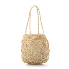 花柄編みミニトートバッグ (ナチュラル)