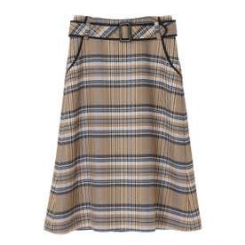 CARMIGNANOチェックタイトスカート (ベージュ)