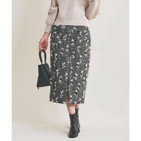 カットラメツイードスカート (ブラック)