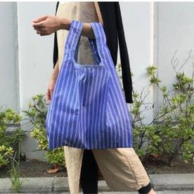 サスティナブル【R-PET素材】人気のエコバッグに新色登場 コンパクト収納 撥水 (BLUE/ストライプ)
