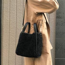 【ネット限定】もこもこボアがとっても可愛い 2wayショルダーバッグ (BLACK)