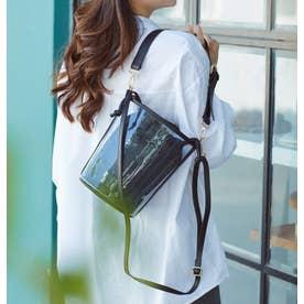 【mina7月号掲載商品】バケツ型クリア3wayショルダーミニバッグ とってもおしゃれで可愛いバッグです (BLACK)