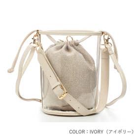 【mina7月号掲載商品】バケツ型クリア3wayショルダーミニバッグ とってもおしゃれで可愛いバッグです (IVORY)