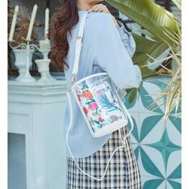 【mina7月号掲載商品】 バケツ型クリア3wayショルダーミニバッグ とってもおしゃれで可愛いバッグです (WHITE/FW)