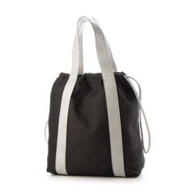 【人気の巾着バッグ】トレンド巾着バッグ 太めのベルトがオシャレ トートorショルダー2way仕様 (BLACK)