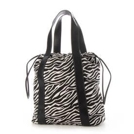 【人気の巾着バッグ】トレンド巾着バッグ 太めのベルトがオシャレ トートorショルダー2way仕様 (ZEBRA)