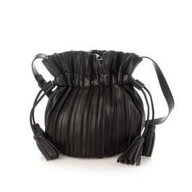 タッセル付き巾着プリーツバッグ (BLACK)