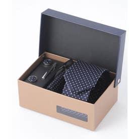 老舗英国ブランド シルク100% メンズ スーツ ギフト箱4点セット (ネイビー系3)