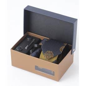 老舗英国ブランド シルク100% メンズ スーツ ギフト箱4点セット (ネイビー系2)
