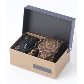 老舗英国ブランド シルク100% メンズ スーツ ギフト箱4点セット (ブラウン系その他)