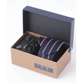 老舗英国ブランド シルク100% メンズ スーツ ギフト箱4点セット (ブルー系その他)