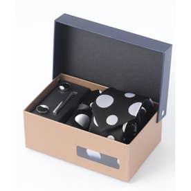 老舗英国ブランド シルク100% メンズ スーツ ギフト箱4点セット (ブラック×ホワイト)