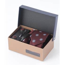 老舗英国ブランド シルク100% メンズ スーツ ギフト箱4点セット (ワイン系2)