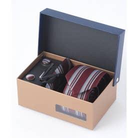 老舗英国ブランド シルク100% メンズ スーツ ギフト箱4点セット (ワイン系1)
