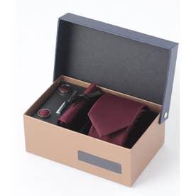 老舗英国ブランド シルク100% メンズ スーツ ギフト箱4点セット (ボルドー)