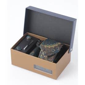 老舗英国ブランド シルク100% メンズ スーツ ギフト箱4点セット (ブルー系その他2)