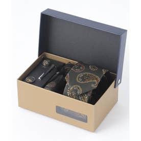 老舗英国ブランド シルク100% メンズ スーツ ギフト箱4点セット (カーキ系1)