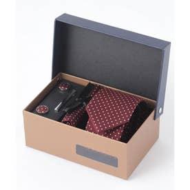 老舗英国ブランド シルク100% メンズ スーツ ギフト箱4点セット (ワイン系3)