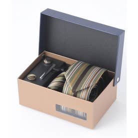 老舗英国ブランド シルク100% メンズ スーツ ギフト箱4点セット (オリーブ)