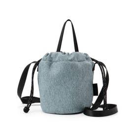 メランジ 巾着 ショルダーバッグ (ライトブルー)
