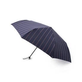 耐風コンパクトストライプ 折りたたみ傘 (ネイビー)