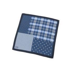 パッチワーク風ポケットチーフ (ネイビー(593))