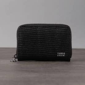 リザード型押しレザー ミニマルチ財布 (ブラック)
