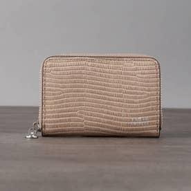 リザード型押しレザー ミニマルチ財布 (ベージュ)