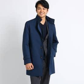 【Sサイズ~】メランジカルゼラミネート スタンドカラーコート (ブルー)