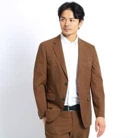 【Sサイズ~】リネンライクプリントジャケット (クールドッツ(R)) (ブラウン)