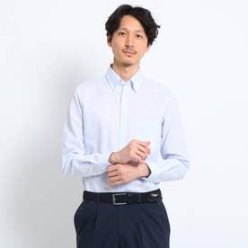 リネン混ボタンダウン ビジネスシャツ (ブルー)