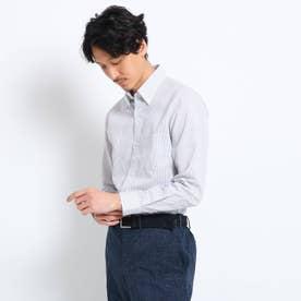 リネン混ボタンダウン ビジネスシャツ (グレー)