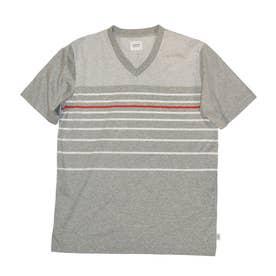 ボーダー柄半袖VネックTシャツ (モクグレー)