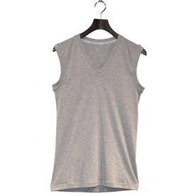 スリーブレスVネックシャツ (杢グレー)【返品不可商品】