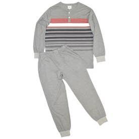 長袖ボーダー柄パジャマ (モクグレー)