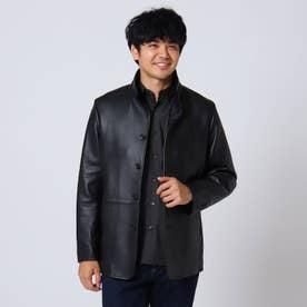 ラムレザースタンドカラージャケット (ブラック)