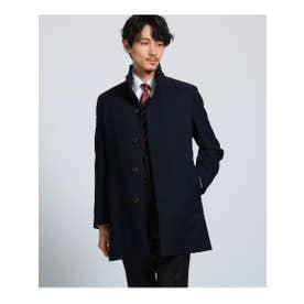 ◆[大きいサイズ]メランジ小紋スタンドカラーコート ダウンライナー付き (ネイビー(093))