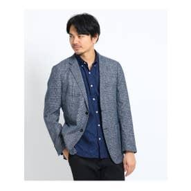 ◆【大きいサイズ】グレンチェックメランジジャケット (ブルー(292))