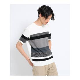 【大きいサイズ】パネルボーダーニットTシャツ (ホワイト(301))