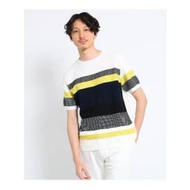 【大きいサイズ】パネルボーダーニットTシャツ (イエロー(332))