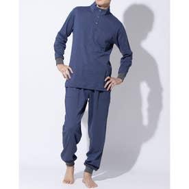 LL)長袖ハイネックパジャマ (ブルー)