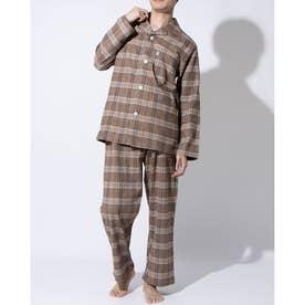 長袖テーラードパジャマ (オレンジ)