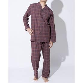 長袖テーラードパジャマ (ワイン)