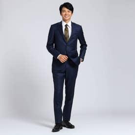 【Sサイズ-】シャドーオルタネイトストライプスーツセットアップ Fabric by MIYUKI KEORI (ネイビー)