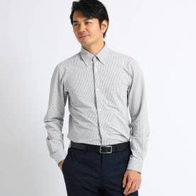 ストライプニットサッカーシャツ (ライトグレー)