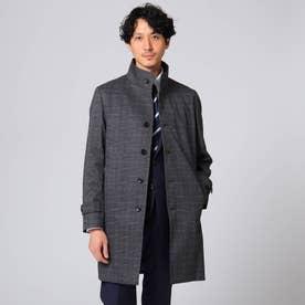 【Sサイズ~】メランジグレンチェックコート (チャコールグレー)