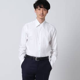 サテンストライプシャツ (ホワイト)